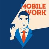 Businessman looking at smartphone. Mobile work concept. Social media poster. Businessman or manager looking at smartphone with glow. Mobile work concept. Social stock illustration
