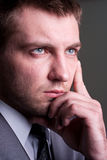 Businessman looking for solutions Stock Photo