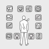Businessman looking at square business icons vector illustration Royalty Free Stock Photos