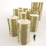 Businessman looking at Stack of golden coins. Dollar sign 3d as concept Royalty Free Stock Images