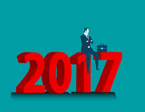 Businessman looking success at sitting above numbers 2017. Concept business illustration. Vector flat Royalty Free Stock Photography