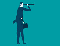 Businessman looking telescope. Concept business illustration. Vector flat Stock Images