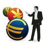 Businessman looking at three symbols of Yuan, Euro. And Dollar Royalty Free Stock Images