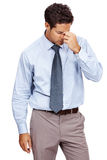 Businessman looking tired and depressed from work Royalty Free Stock Photo