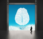 Businessman looking to brain as cloud icon Royalty Free Stock Photo