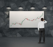 Businessman looking to candle chart Royalty Free Stock Photos