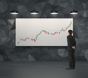 Businessman looking to candle chart Stock Photography