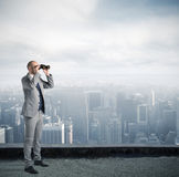 Businessman looking to the future Stock Images
