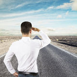 Businessman  looking to horizon Stock Photo