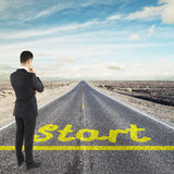 Businessman looking to horizont Stock Images