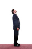 Businessman looking up. Full length shot of a businessman looking up high Stock Image