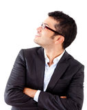 Businessman looking up Stock Photography