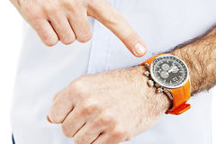 Businessman looking at the watch Stock Photography