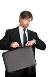 Businessman looking at your watch. Stock Photo