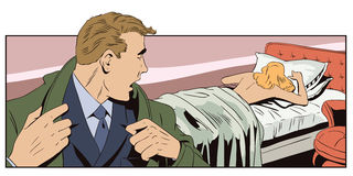 Businessman looks back for sleeping woman. Stock illustration. Royalty Free Stock Photos