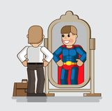 Businessman looks at himself in the mirror and sees himself as t. He big boss. Economic growth concept in isometric flat design. Growth charts. Vector Stock Photography