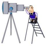 Businessman looks in telescope. Royalty Free Stock Photos