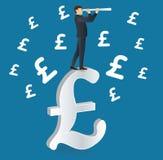 Businessman looks through a telescope standing on Pound icon Royalty Free Stock Photos