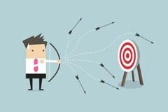 Businessman loser shooting arrow. Vector illustration Royalty Free Stock Photos
