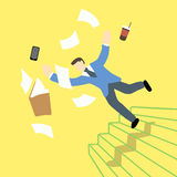 Businessman is losing balance and falling down on staircase while the file folder and tablet is in the air Royalty Free Stock Photo