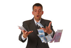 Businessman is losing money Stock Photos
