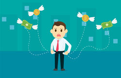 Businessman losing money with dollar and coins wing flying away stock illustration