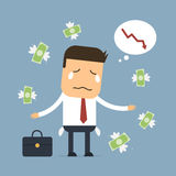 Businessman loss money,Vector cartoon concept abstract business. Businessman loss money in stock market Royalty Free Stock Photography