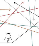 Businessman lost in a maze. Hand drawn cartoon character - businessman lost in a maze Stock Photos