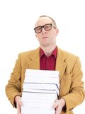 Businessman with a lot of books Stock Photography