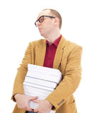 Businessman with a lot of books Stock Photos