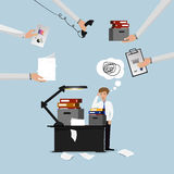 Businessman lot of work. A lot of paperwork Royalty Free Stock Photography