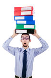 Businessman with lots of folders Stock Photo