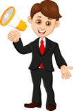 Businessman with a loudspeaker. Illustration of Businessman with a loudspeaker Royalty Free Stock Photos