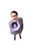 The businessman with loudspeaker isolated on the white background Royalty Free Stock Photos