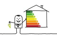 Businessman & low -power house. Hand drawn cartoon characters - businessman & low -power house Stock Image