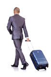Businessman with luggage Royalty Free Stock Photos