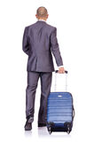 Businessman with luggage Stock Images