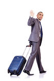 Businessman with luggage. On white Stock Images