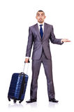 Businessman with luggage Royalty Free Stock Image