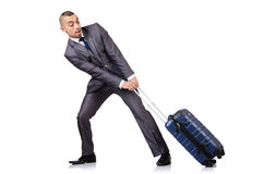 Businessman with luggage Royalty Free Stock Photography