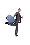 Businessman with luggage Royalty Free Stock Images