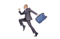 Businessman with luggage. On white Royalty Free Stock Photos