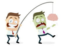 Businessman luring zombie with brain on a rod. Clipart of a businessman luring zombie with brain on a rod Stock Photography