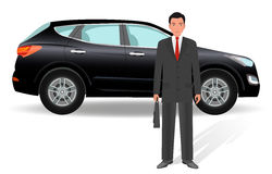 Businessman on a luxury crossover car background. Office man employee with auto on a white background. Flat style vector illustration Stock Photo