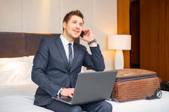 Businessman in the luxury hotel stock photo