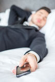 Businessman in the luxury hotel Stock Images