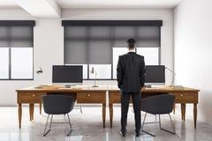 Businessman in luxury meeting room stock illustration