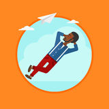 Businessman lying on cloud vector illustration. Stock Photography