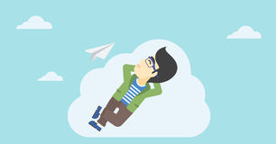 Businessman lying on cloud vector illustration. Stock Images