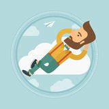 Businessman lying on cloud vector illustration. Royalty Free Stock Image